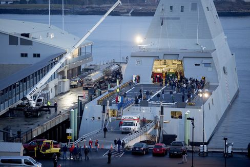 The USS Zumwalt is docked at a terminal in Portland.