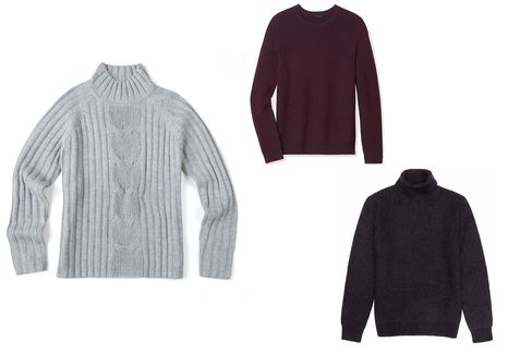 From left: Cable knit mock-neck sweater, Nautica, $198, nautica.com; Meylan sweater in cash-wool, Theory, $295, theory.com; Ribbed roll-neck jumper, Reiss, $195, reiss.com.