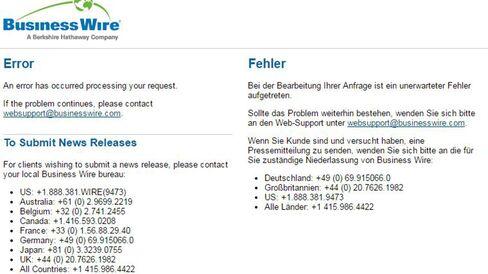 Business Wire error page.