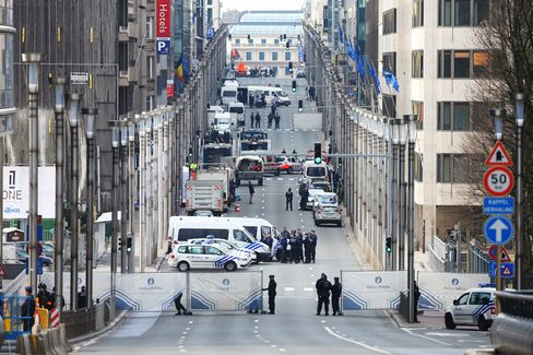 Security forces outside Maelbeek metro station on March 22.