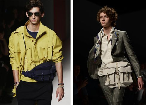 Two fanny packs that appeared at the Ferragamo show.