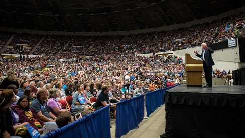 Senator Bernie Sanders speaks during a campaign rally in Madison, Wisconsin, on July 1, 2015.