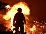 Firefighters battle a brush fire near Ventura, California.