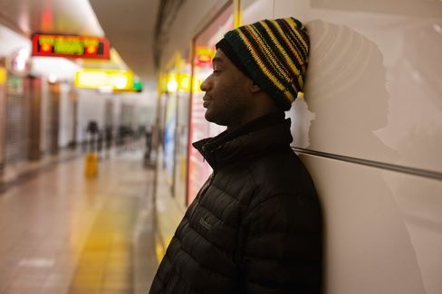 Hadi Mansaray, 31, who is homeless, in Terminal B of LaGuardia Airport. Mansaray is an immigrant from Sierra Leone. He says he has been homeless for two years and has been staying at the airport for the past five weeks.
