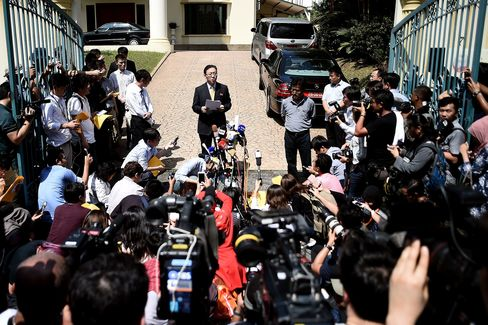 Kang Chol (C), North Korea's ambassador to Malaysia, addresses journalists outside the embassy on February 20, 2017.
