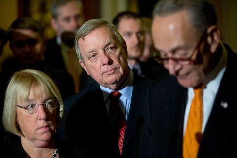 Senator Dick Durbin, center, during a news conference after a Democratic Senate luncheon at the U.S. Capitol in Washington, D.C., on Oct. 27.