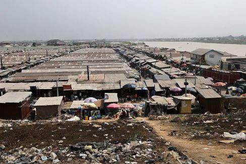 Shacks made of wood and corrugated iron in Yenagoa, southern Nigeria.