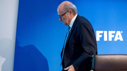 FIFA President Joseph S. Blatter leaves the press conference at the Extraordinary FIFA Executive Committee Meeting at the FIFA headquarters on July 20, 2015 in Zurich, Switzerland.