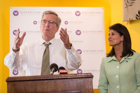 Jeb Bush appears withSouth Carolina Governor Nikki Haley on March 17, 2015, in Columbia, S.C.