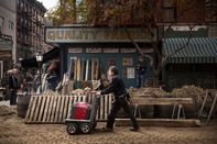 Film Set Transforms Block On Manhattan's Lower East Side To Bygone Era