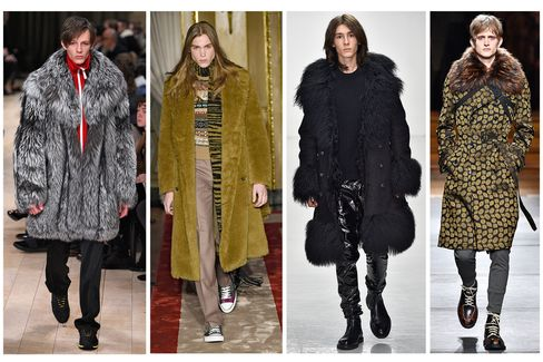 Fur show stealers on the catwalk from left to right: Burberry, Roberto Cavalli, Katie Eary and Dries Van Noten.