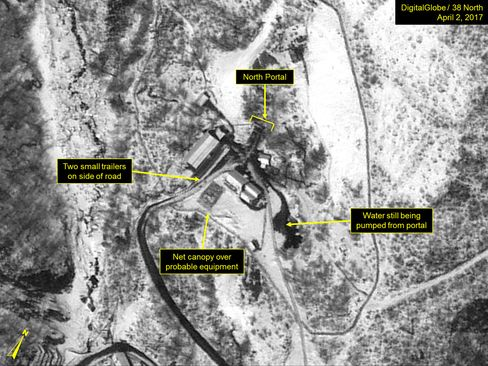 A satellite image of the Punggye-ri nuclear test site on April 2.