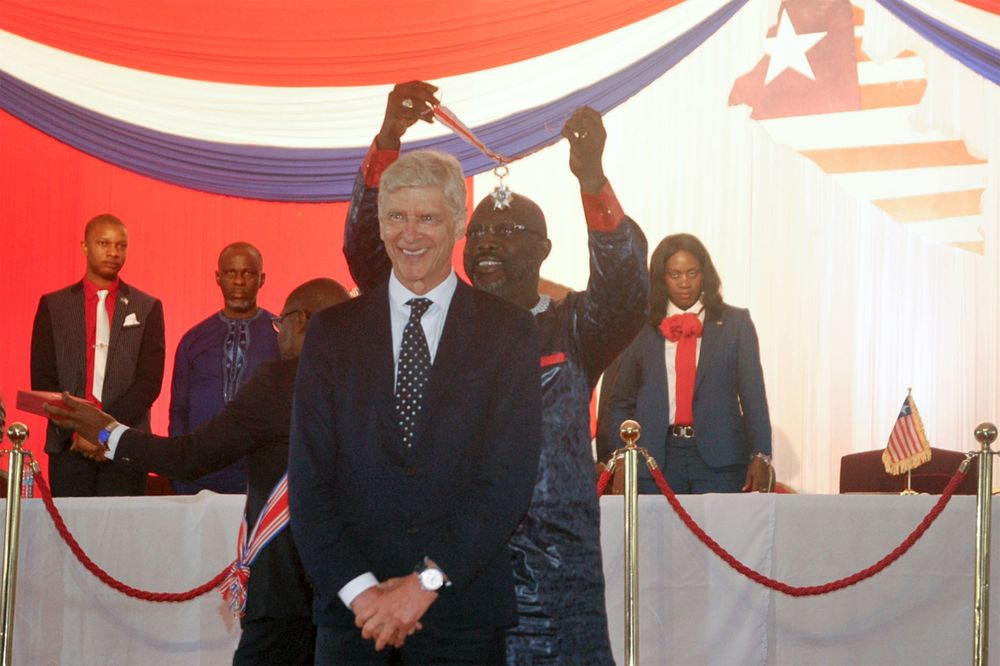 Liberia President Gives His Ex-Soccer Boss Wenger National