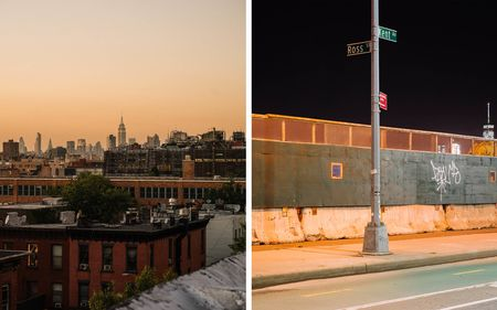From left: The sun sets over the city skyline in a view captured from Bedford-Stuyvesant. (Shot at 1/125th, f/4.8, and 400iso.) A long expsoure at the intersection of Kent Ave. and Ross St. in Williamsburg. (Shot at 11sec, f/11, 400iso.)