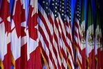 Canadian, American and Mexican flag