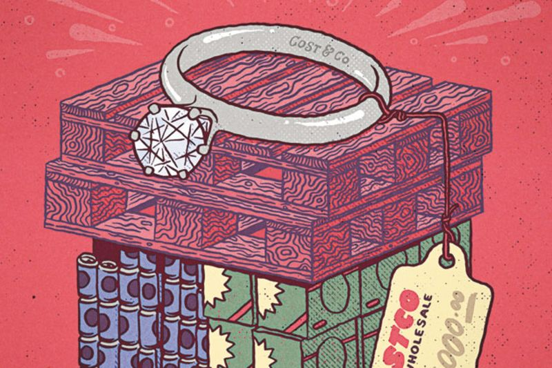 A discount engagement ring doesn't diminish your love Illustration by Tane Williams