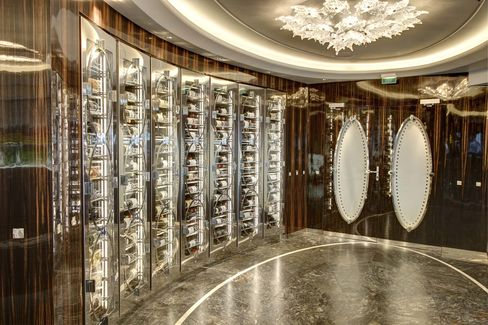 The wine vault in the ship's Portraits restaurant.