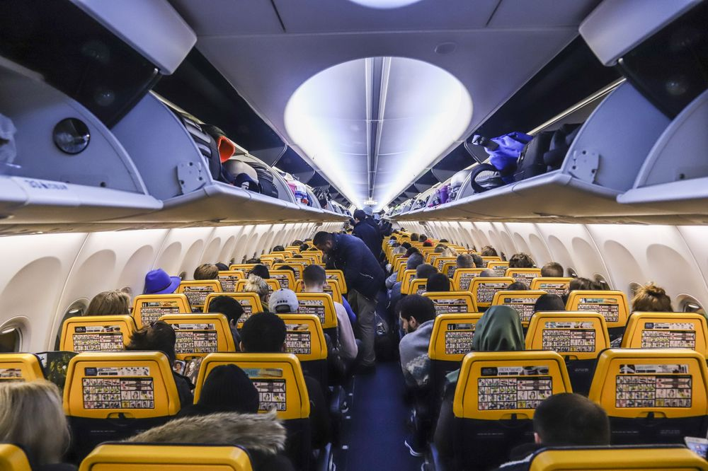 The economy class cabin of Ryanair's 737-800 aircraft.