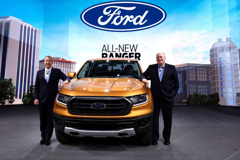 Ford Motor Company Executive Chairman Bill Ford L And James Hackett Ford President And Ceo Stand With The New  Ford Ranger Midsize Truck At Its