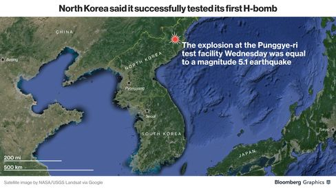 Map of the explosion site, the Punggye-ri test facility in North Korea, and the region