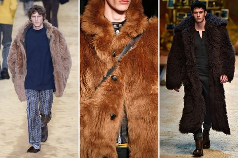 Oversized brown fur was an especially memorable trend from the men's collections. From left to right: Fendi, Coach and Dolce & Gabbana.