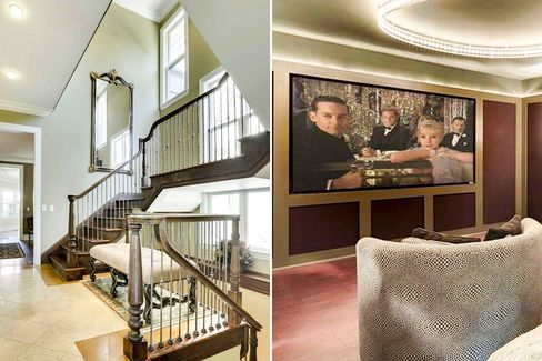 Staircase and screening room in this 6,492-sq-ft Lowry Hill Victorian.