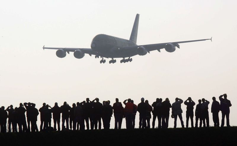 Giant Airbus A380 Arrives In Hamburg For First Time