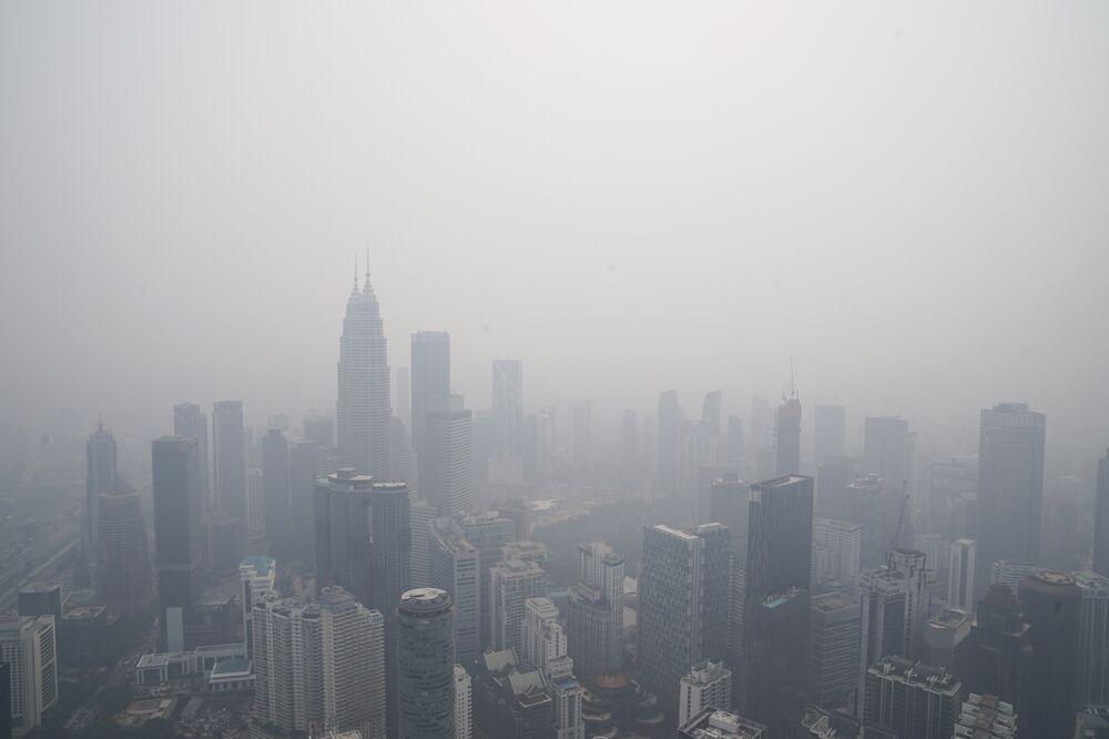 Kuala Lumpur shrouded with haze on Sept. 18.