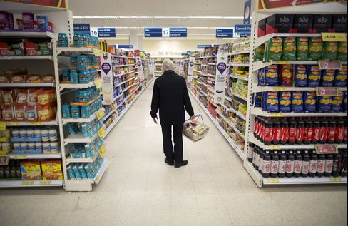 A Customer Shops for Food in a Supermarket in London