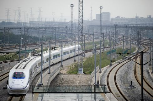 A high speed train leaves Wuhan station
