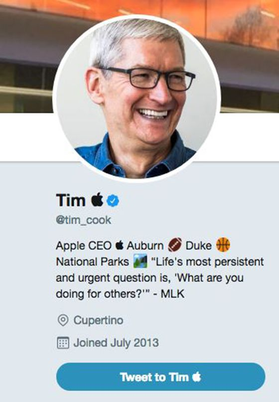 Apple's Tim Cook Changes His Twitter Name to 'Tim Apple'