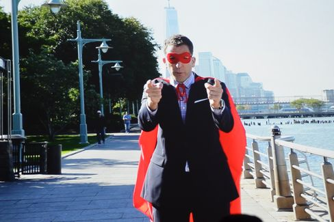 Scott Lawin plays superhero in the Friends of Hudson River Park video.