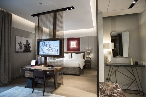 A suite features multiple living spaces in the Fendi Private Suites at Palazzo Fendi.