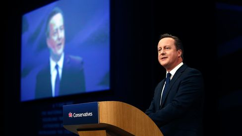 David Cameron, U.K. prime minister and leader of the Conservative Party, delivers his speech on the closing day of the Conservative Party annual conference in Manchester on Oct. 7, 2015.