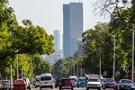 The South African Reserve Bank stands on the skyline in Pretoria.