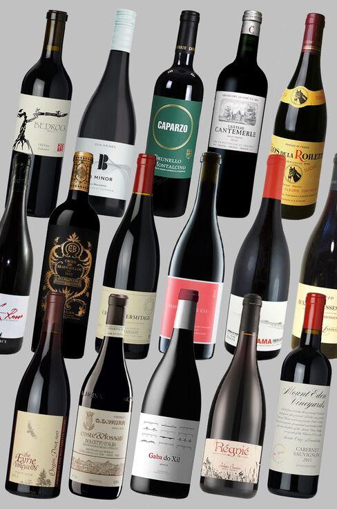 From left to right: (top row) 2014 Bedrock Old Vines Zinfandel; 2013 Ben Haines B Minor Shiraz Marsanne; 2010 Caparzo Brunello di Montalcino; 2010 Chateau Cantemerle 2014 Clos de la Roilette Fleurie Cuvee Tardive; (middle row) 2013 Graci Etna Rosso; 2012 Croix de Beaucaillou; 2013 Domaine Alain Graillot Crozes-Hermitage; 2012 Enfield Wine Company Haynes Vineyard Syrah; 2011 Dominio do Bibei Lalama Ribeira Sacra; Domaine Jean & Gilles Lafouge Auxey Duresses Les Duresses; (bottom row) 2012 Eyrie Vineyards Pinot noir; 2013 G.D. Vajra Dolcetto d'Alba Coste & Fossati; 2013 Telmo Rodriguez Gaba do Xil Godello; 2014 Julien Sunier Regnié; 2011 Mount Eden Vineyards Domaine Eden Cabernet Sauvignon