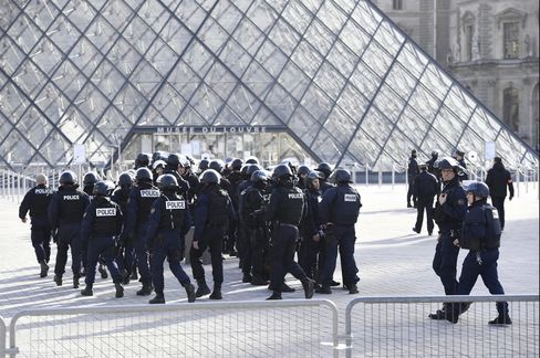 Police outside the Louvre, Feb. 3