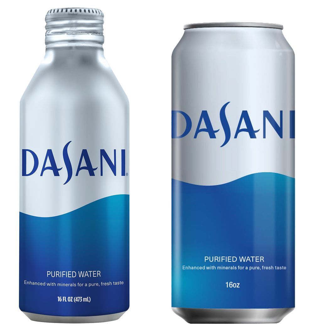 Image result for Dasani products switching to aluminum, more recycled plastic