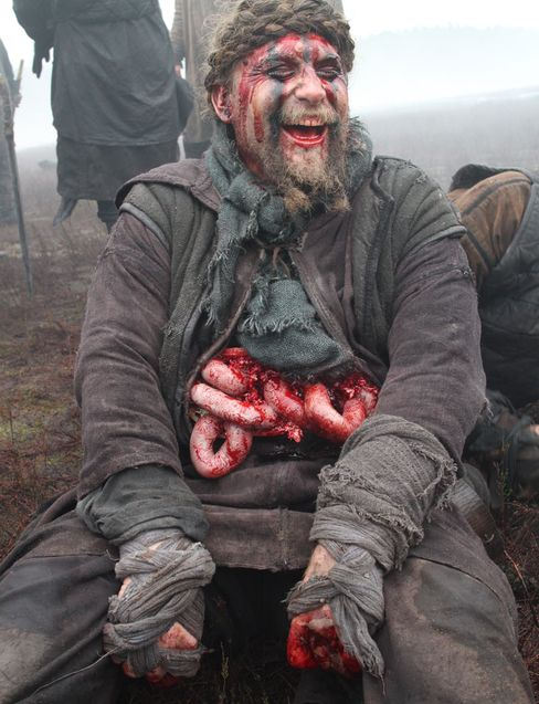 One of the actors takes a break from filming.
