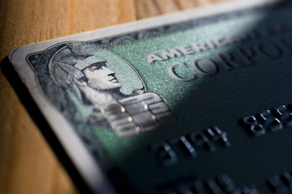 An American Express Co Chip Credit Card Is Arranged For A Photograph In Washington