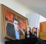 Painting of Renato Usatii at his office.
