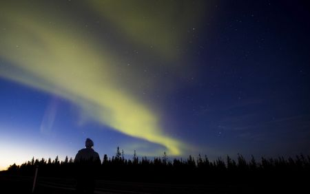 The Northern Lights, known as the aurora borealis, seen fromYellowknife, Northwest Territories, Canada.