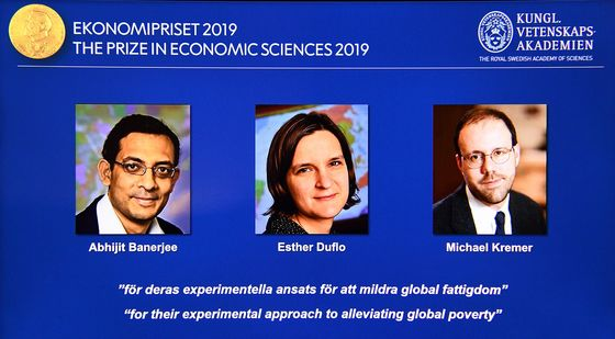 Nobel Economics Prize Won by Trio Fighting Global Poverty