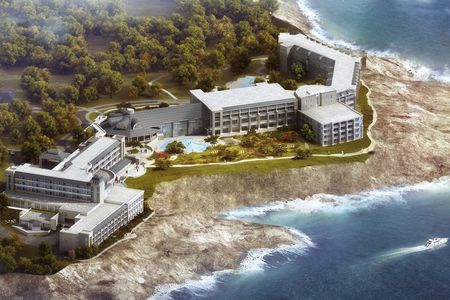A aerial perspective rendering of the Cliff House, in Ogunquit.