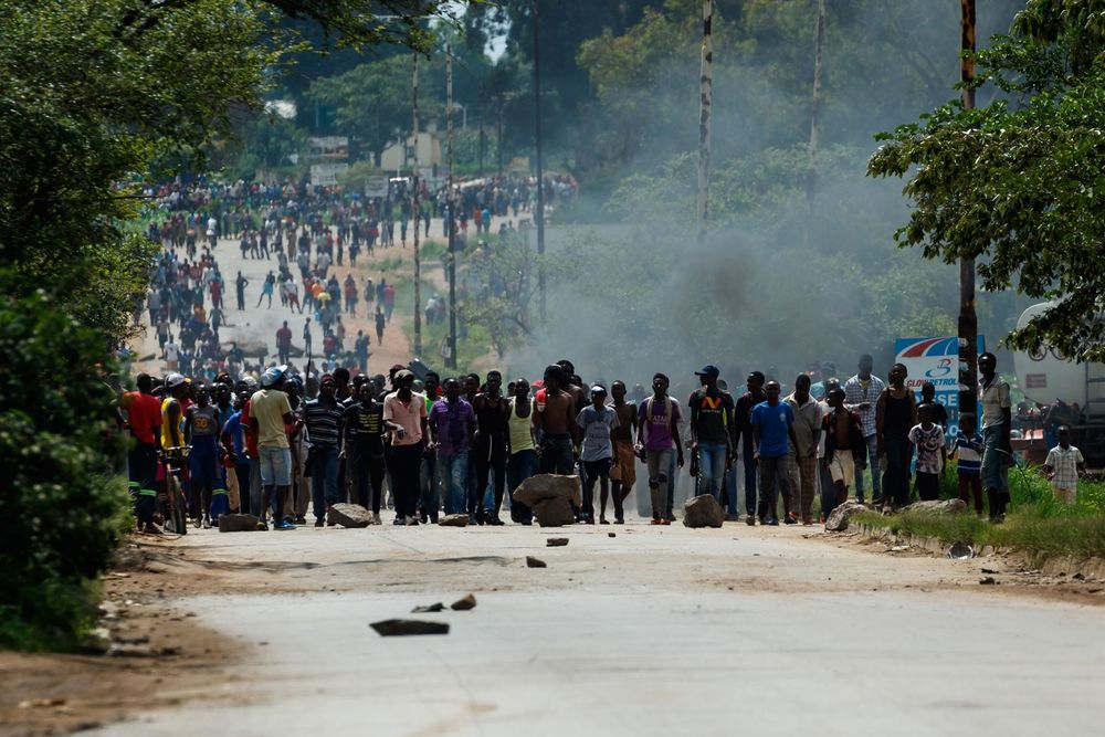 Protesters near Harare on Jan. 14.