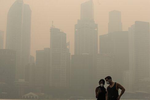 Singapore shrouded in smog.