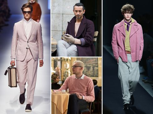 Clockwise from top left: A pink suit from Canali's Spring/Summer 2016 collection; a pink Valentino sweater as seen on the streets of Milan during the Men's Fall/Winter 2015 shows in January; a double-breasted pink coat from Bottega Veneta's Fall/Winter 2015 collection; a pink Benetton sweater spotted at Milan Fashion Week.