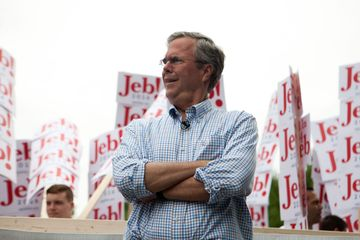 Republican Presidential candidate Jeb Bush in 4th of July Parade in Amherst, New Hampshire.