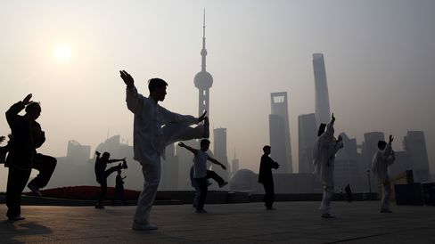 Tai chi in the Lujiazui district in Shanghai, China.