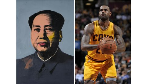 Left: Andy Warhol, Mao, 1972. Right: LeBron James's reported two-year signing contract to join the Cleveland Cavaliers was $47 million.